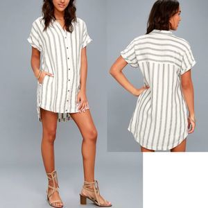 lulus striped white gray shirt dress button front